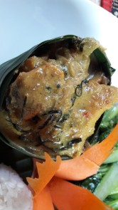 Fish Amok- a Cambodian specialty- fish cooked in coconut milk and then cooked in banana leaf