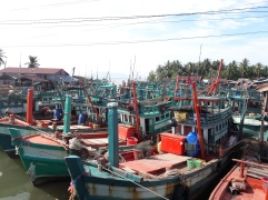 Fishing boats waiting to head out to the sea
