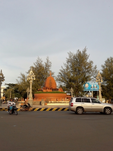 Kampot's main roundabout is a tribute to the Durian fruit!