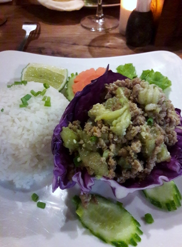 A Cambodian dish of smoked aubergine and minced pork