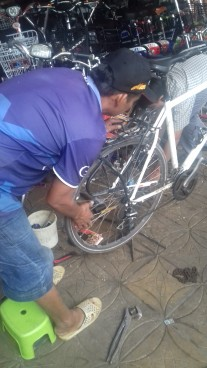 Thomas' bike getting fixed