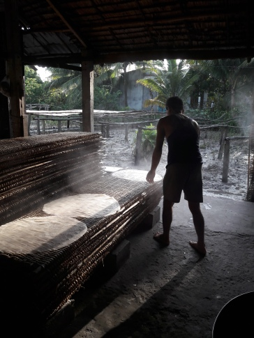 then set out to dry on these bamboo mats