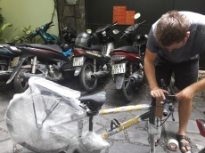 Packing the bikes for Hanoi
